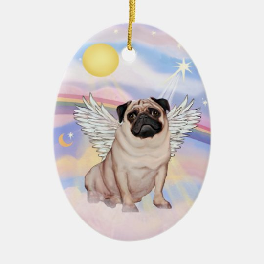 Clouds - Pug Angel (fawn) Christmas Ornament