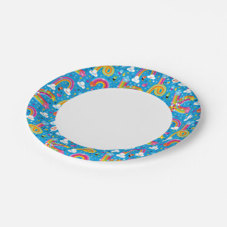 clouds rainbows rain drops hearts pattern 7 inch paper plate