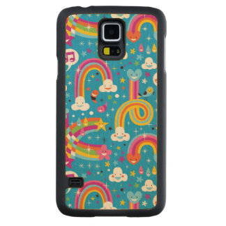 clouds rainbows rain drops hearts pattern carved maple galaxy s5 case