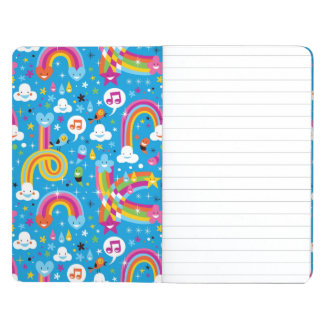 clouds rainbows rain drops hearts pattern journal