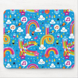 clouds rainbows rain drops hearts pattern mouse pad