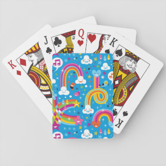 clouds rainbows rain drops hearts pattern poker deck