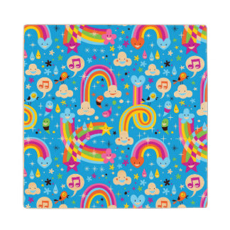 clouds rainbows rain drops hearts pattern wood coaster