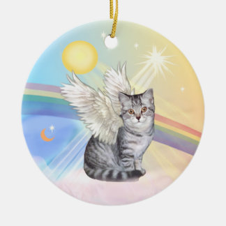 Clouds - Silver Tabby Tiger Cat Angel Christmas Ornament
