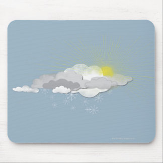 Clouds, Sun and Snowflakes Mouse Pad