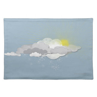 Clouds, Sun and Snowflakes Place Mat
