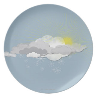 Clouds, Sun and Snowflakes Plate