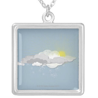 Clouds, Sun and Snowflakes Silver Plated Necklace