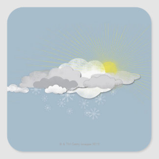Clouds, Sun and Snowflakes Square Sticker