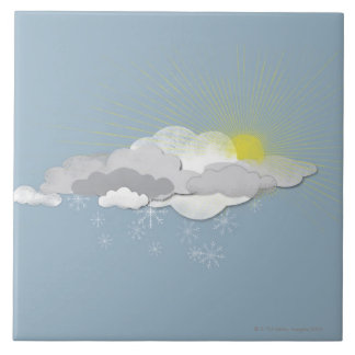 Clouds, Sun and Snowflakes Tile