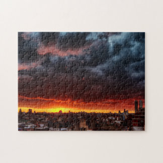 Clouds, Sunset And Red Jigsaw Puzzle