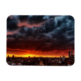 Clouds, Sunset And Red Rectangular Photo Magnet