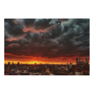 Clouds, Sunset And Red Wood Wall Art