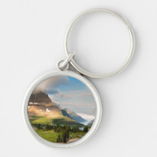 Clouds Sweeping Through Mountains Silver-Colored Round Key Ring