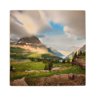 Clouds Sweeping Through Mountains Wood Coaster