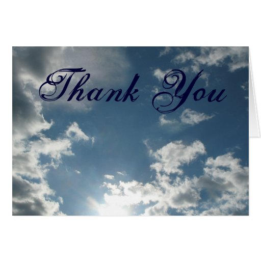 Clouds thank you greeting card