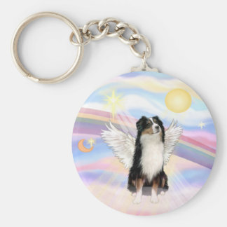 Clouds - Tri Color Australian Shepherd Basic Round Button Key Ring