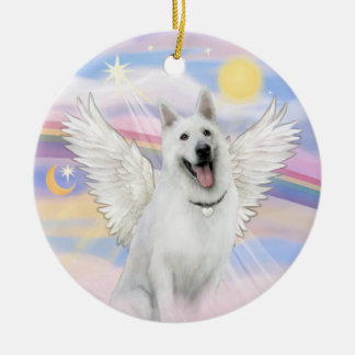 Clouds - White German Shepherd Christmas Ornament
