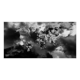 Clouds World Map Poster
