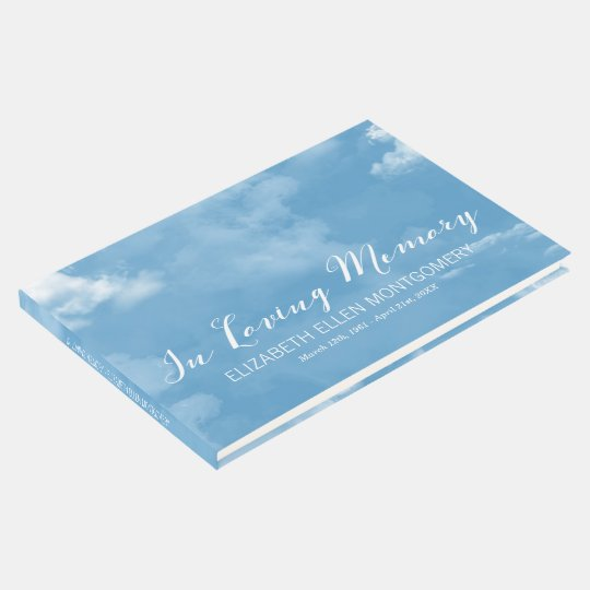 Cloudy Blue Sky In Loving Memory Guest Book