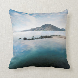 Cloudy Blue Sky Reflecting In Lake Cushion