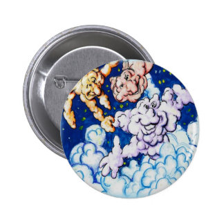 Cloudy clouds 6 cm round badge