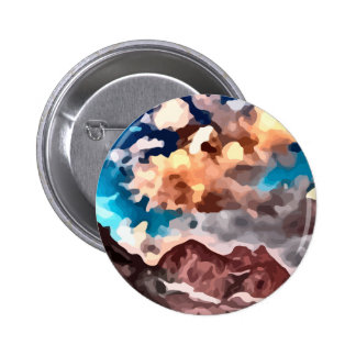 cloudy day mountain peak painting. 6 cm round badge