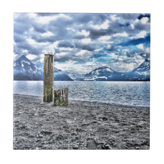 Cloudy day RK lake lucerne Small Square Tile