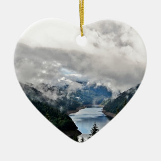 Cloudy Lake Ceramic Heart Decoration