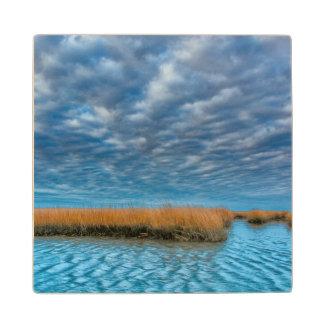 Cloudy scenic on Chincoteague Island Wood Coaster