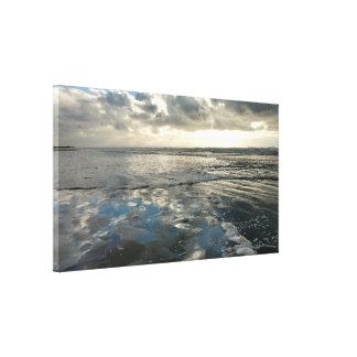 Cloudy Sky Beach Reflections Art Canvas Print