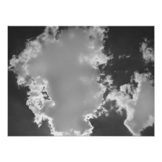 Cloudy Sky BW Poster