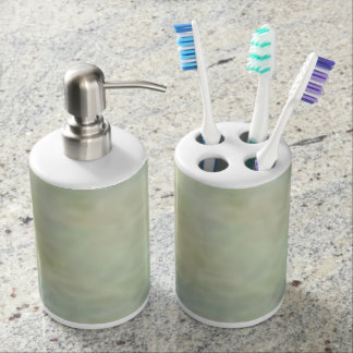 Cloudy Sky From Vintage Artwork Soap Dispenser And Toothbrush Holder
