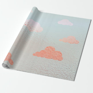 Cloudy Sky Mint Candy Peach Metallic Blue Wrapping Paper