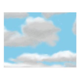 Cloudy Sky Pixel Art Postcard