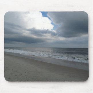 Cloudy Sky Seashore Beach Ocean Photo Mouse Pad