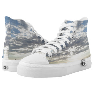 Cloudy Sky Zipz High Top Shoes,White