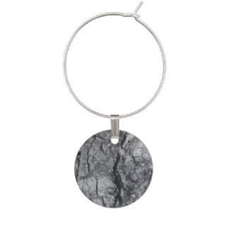 Cloudy Slate Black Streaked marble stone finish Wine Glass Charm