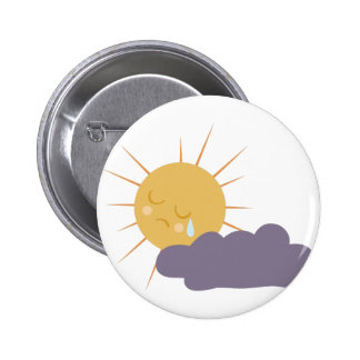 Cloudy Sun 6 Cm Round Badge
