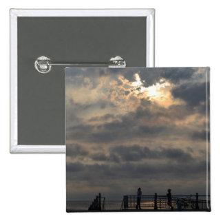 Cloudy Sunrise 15 Cm Square Badge