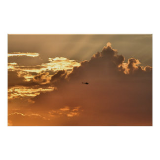 Cloudy Sunset - Helicopter Poster
