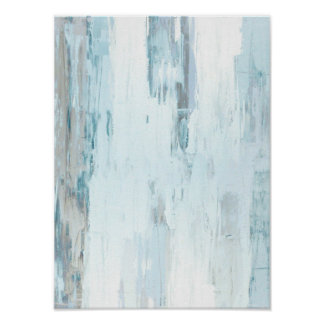 'Cloudy' Teal and Beige Abstract Art Poster