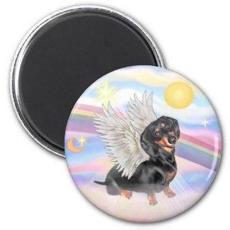 Clous - Dachshund Angel (black/tan) 6 Cm Round Magnet