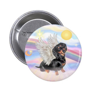 Clous - Dachshund Angel (black/tan) 6 Cm Round Badge