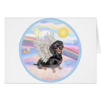 Clous - Dachshund Angel (black/tan) Greeting Card