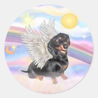 Clous - Dachshund Angel (black/tan) Round Sticker
