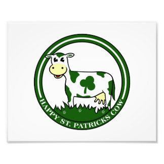 Clover cow st patrick day text graphic.png photographic print