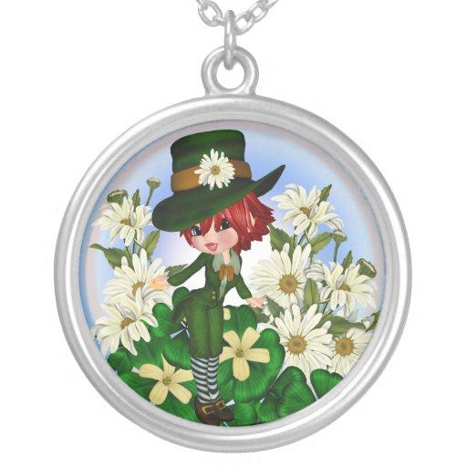 Clover Daisy Patty Leprechaun Necklace