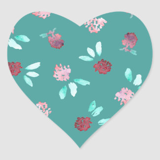 Clover Flowers Glossy Heart Sticker
