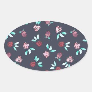 Clover Flowers Glossy Oval Sticker